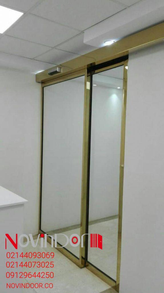 خرید درب اتوماتیک کشویی با فریم طلایی